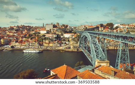 Riverbank of the Douro river through Porto.