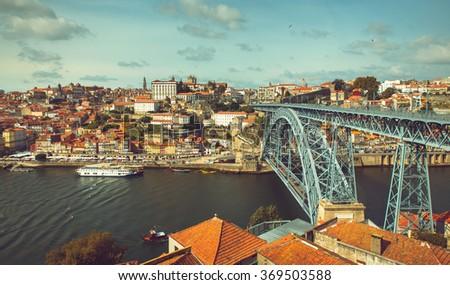 Riverbank of the Douro river through Porto. - stock photo