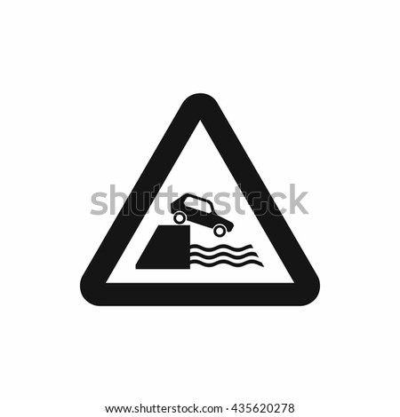 Riverbank traffic sign icon, simple style - stock photo