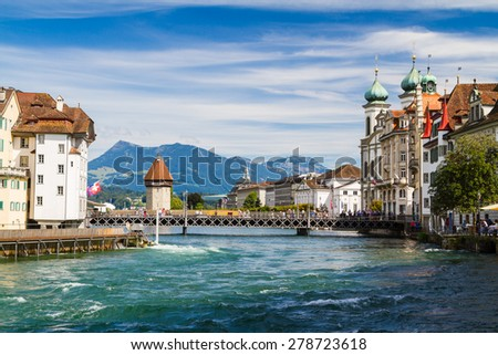 Riverfront in Lucerne, Switzerland - stock photo