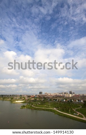 rivers and landscape architecture under the blue sky, China - stock photo