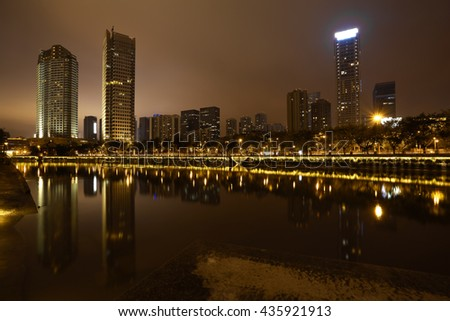 Rivers with city modern buildings background of Night