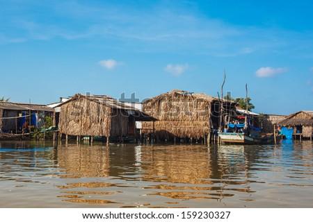 Riverside houses in Mekong delta - Vietnam