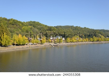 Riverside of Nakdong-gang in Andong city, Korea. - stock photo