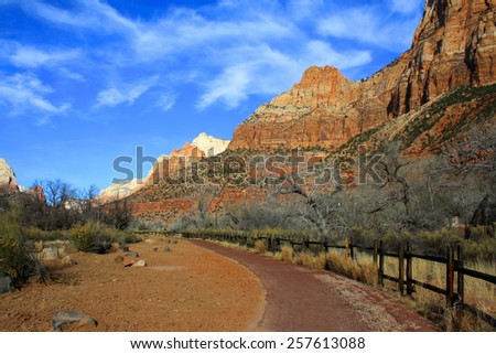 Riverside path along Virgin River in Zion National Park, Utah, USA [United States of America] - stock photo