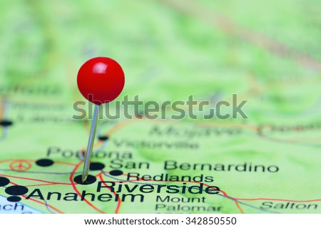 Riverside pinned on a map of USA  - stock photo