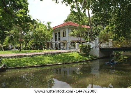 riverside view of a landmark, Bangkok,Thailand