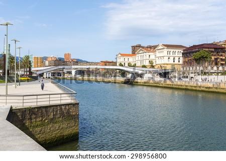 Riverside walk along Nervion and Deusto university, Bilbao (Spain) - stock photo