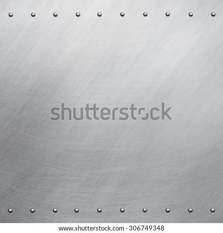 Riveted aluminum background - stock photo