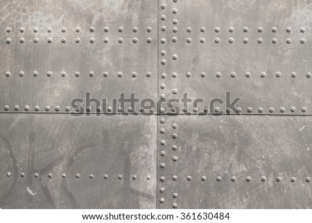 riveted metal from aircraft - stock photo