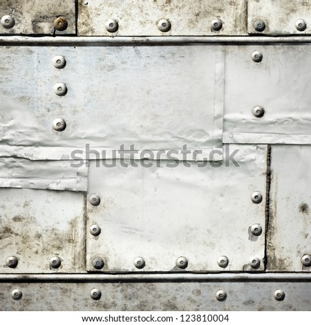 riveted metal plates ; grunge industrial background
