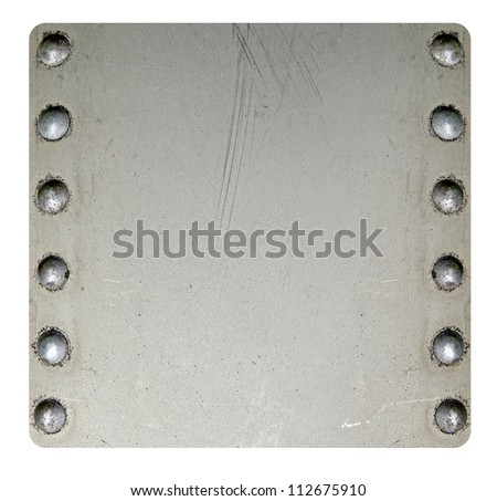 Riveted metal texture isolated on white - stock photo