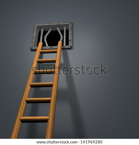 riveted steel prison window and wooden ladder - 3d illustration - stock photo