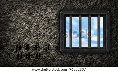 riveted steel prison window - 3d illustration