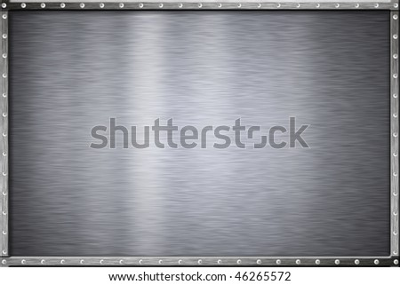 Rivets in metal frame. Copy space. - stock photo
