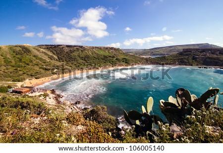 Riviera Bay at golden Sands on Malta - stock photo