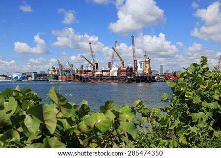 RIVIERA BEACH, FLORIDA - JUNE: On June 8, 2015 in Riviera Beach, the Port of Palm Beach is the fourth busiest port in Florida, and the 18th busiest in container traffic in the United States. - stock photo