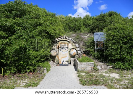 RIVIERA BEACH, FLORIDA - JUNE 8, 2015: The Kennedy Bunker on Peanut Island, Florida near Palm Beach was closed for repairs and updating. - stock photo