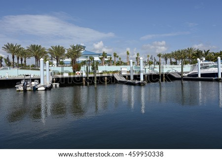 RIVIERA BEACH MARINA VILLAGE, FLORIDA - JULY 27: The new Riviera Beach Marina Village main building, fountain and center on July 27, 2016, in Riviera Beach, Florida, at the new Marina Village complex. - stock photo