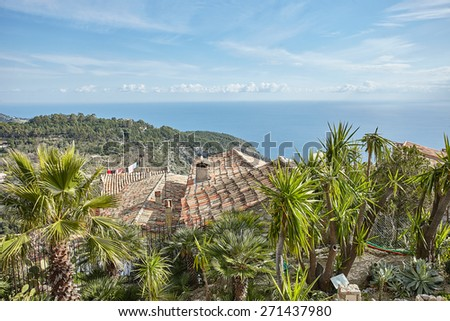 Riviera coast view from the top of the village Eze. France - stock photo