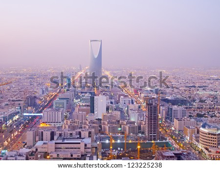 RIYADH - DECEMBER 22: Kingdom tower on December 22, 2009 in Riyadh, Saudi Arabia. Kingdom tower is a business and convention center, shoping mall and one of the main landmarks of Riyadh city - stock photo