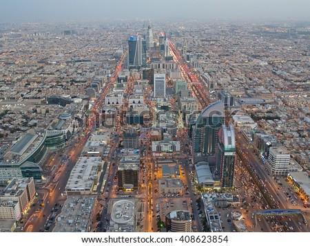 RIYADH - FEBRUARY 29: Aerial view of Riyadh downtown at the evening on February 29, 2016 in Riyadh, Saudi Arabia.  - stock photo