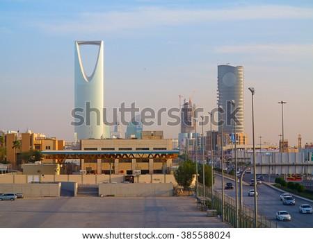 RIYADH - FEBRUARY 29: Kingdom tower on February 29, 2016 in Riyadh, Saudi Arabia. Kingdom tower is a business and convention center, shoping mall and one of the main landmarks of Riyadh city - stock photo