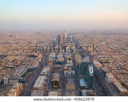 RIYADH - FEBRUARY 29: Sunset over Riyadh downtown on February 29, 2016 in Riyadh, Saudi Arabia.  - stock photo