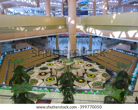 Riyadh - March 01:  Interior of the Riyadh King Khalid Airport on March 01, 2016 in Riyadh, Saudi Arabia. Riyadh airport is home port for Saudi Arabian Airlines. - stock photo
