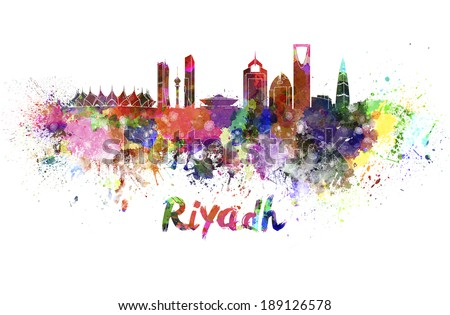 Riyadh skyline in watercolor splatters with clipping path - stock photo