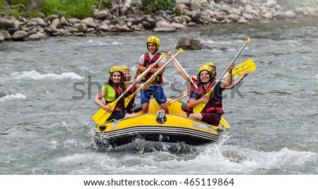 Rize, Turkey - July 24,2015 :Tourists who rafting on the river storm(Firtina Deresi) Rize, Turkey. Photo taken from Rize City, Turkey.
