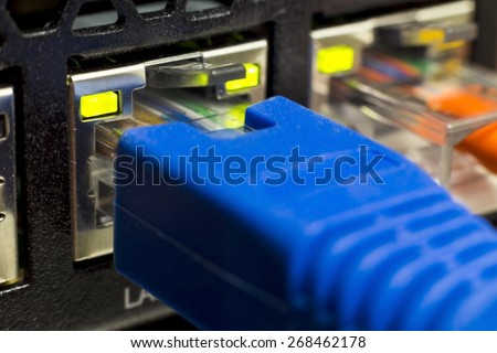 RJ45 Lan cable connected to switch in soft focus  - stock photo