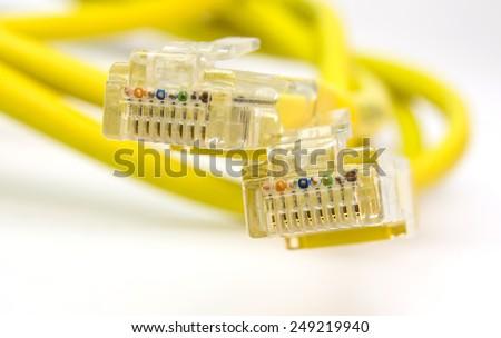 rj45 network  cord yellow  - macro details - stock photo