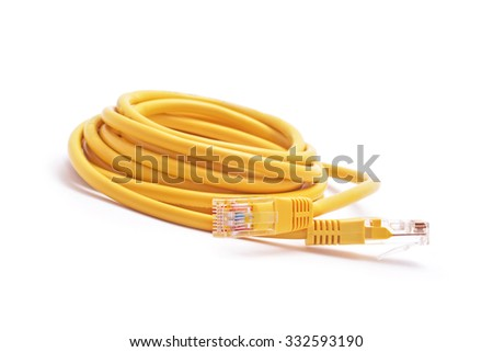 rj 45 wire cable isolated white - stock photo