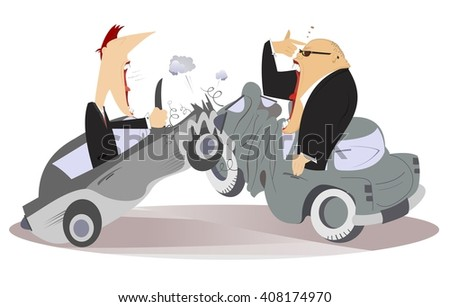 Road accident.Two angry men argue who is guilty of road accident  - stock photo