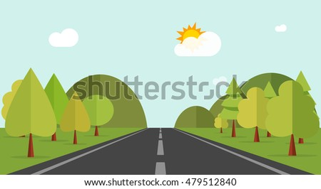 Road across green forest and hills illustration, flat cartoon mountains, forest, road and nature landscape, highway summer view to horizon image