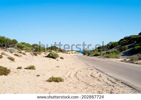 Road along Green coast, west Sardinia, Italy - stock photo