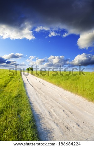 Road amongst green meadow and blue sky