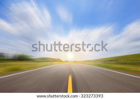 Road and cloud on blue sky background