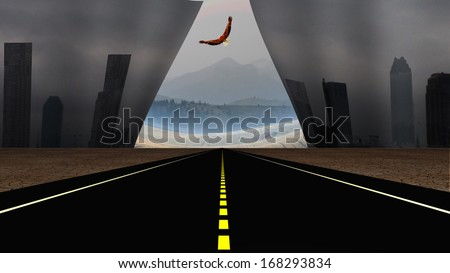 Road and Dytopic city scene torn to reveal peaceful landscape beyond - stock photo