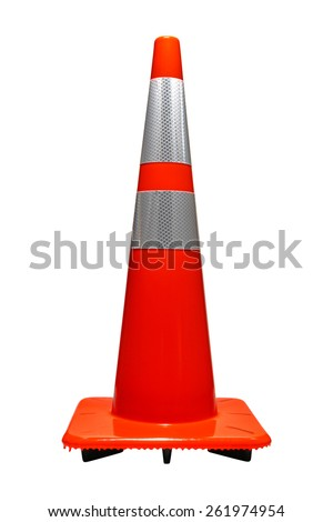 Road and highway furniture device marker safety traffic cone in orange color with reflector isolated on white - stock photo