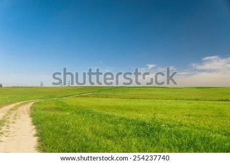 Road and Nobody Acres Wild  - stock photo