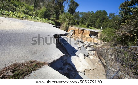 Road and pipes gone after Hurricane Matthews affect in Raeford North Carolina