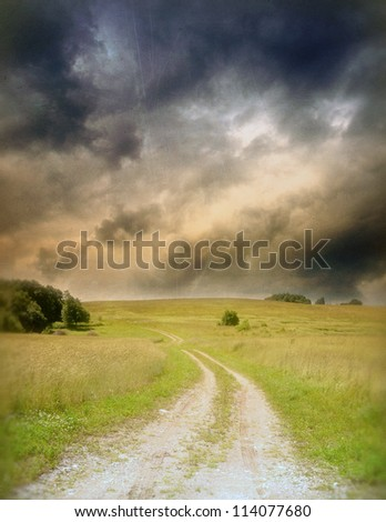 Road and sky, countryside landscape