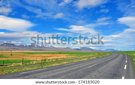 Road and Sky. Iceland - stock photo