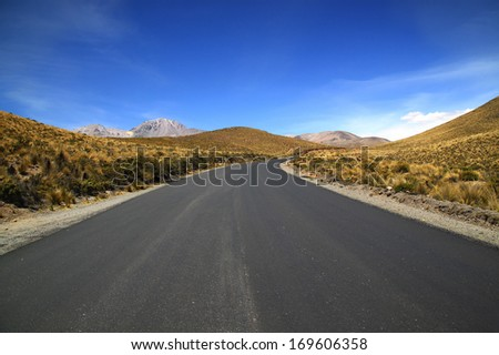 Road at Chile-Bolivia border, Chile. The international Chile Route 11 runs from Chile Route 5 in the vicinity of Arica to Tambo Quemado Pass and provides the main access to Lauca National Park.