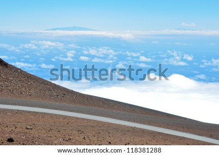 Road at Haleakala National Park, Maui (Hawaii) - stock photo