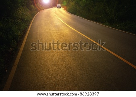 Road at sunset. - stock photo