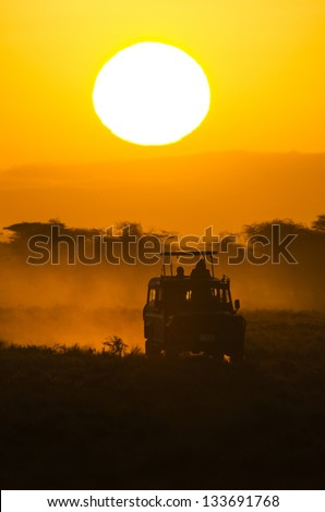 road at sunset or sunrise - stock photo