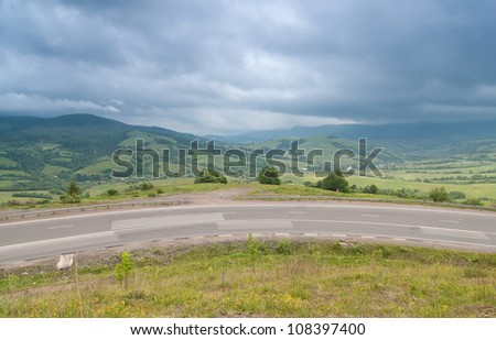 Road at the Carpathian Mountains Ukraine